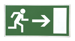 A sign with a man running towards a door
